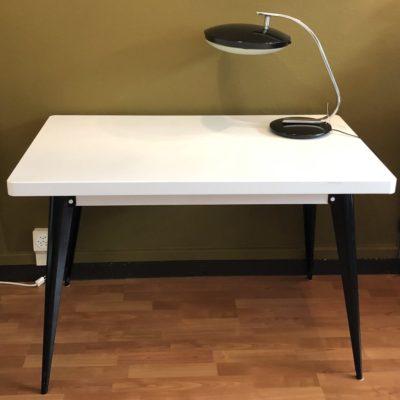 table Tolix vintage blanc et noir modèle 55