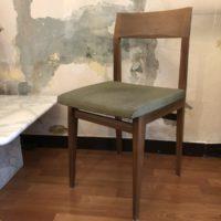 chaise vintage bois assise tissu vert 50' 60'