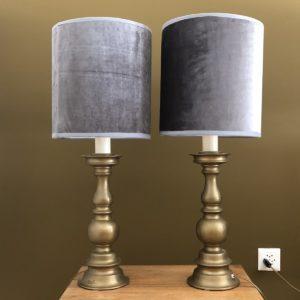 paire lampes pieds laiton abat-jours velours