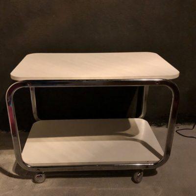 trolley-desserte-meuble tv chrome et blanc 70'