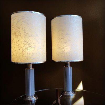 paire lampe style hollywood pieds chrome abat jours papier de riz schmitt