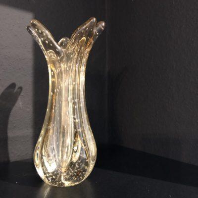 vase tulipe jaune verre bulles murano