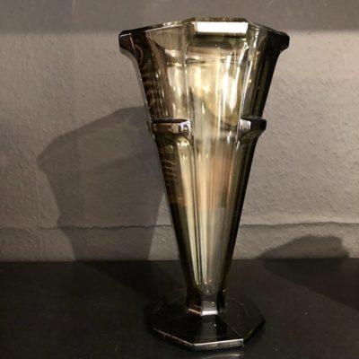 vase style art déco verre fumé