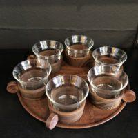 service vintage à thé-café bois et verre et plateau bois