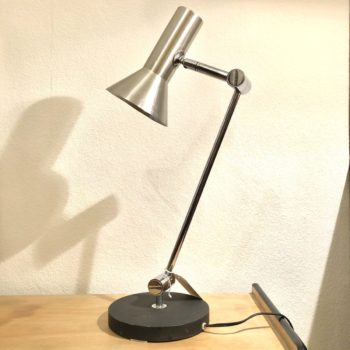 lampe de table raak chrome socle noir hollande 70'