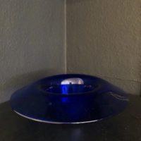 plat vide poche en verre bleu