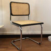 chaise cesca hêtre laqué noir et cannage made in italy