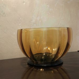 grand bol saladier verre jaune cotelé