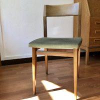 chaise vintage bois assise tissu vert 60'