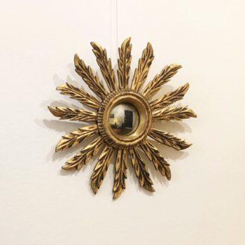 miroir soleil bois doré vintage diam. 39