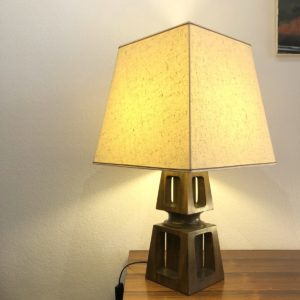 lampe de table en bois vintage 35x35 h. 63