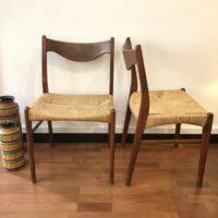 série 4 chaises danoises arne wahl iversen pour glyngore stolefabrik corde et teck 60' 47x42 h. assise 44