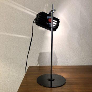 lampe de bureau spot plastique noir et chrome 80'
