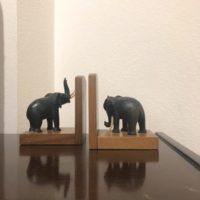 paire serre-livres éléphants bois  signé Meho Brachard objets d'art