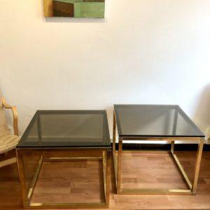 paire tables bout de canapé laiton verre fumé 70' 60x60 H. 50