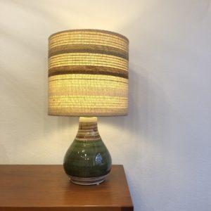lampe céramique abat jour tissé H. Kohler Suisse 70' diam. 32 h. 58