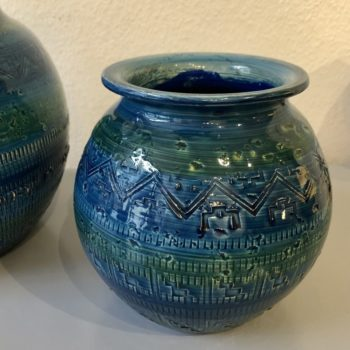 vase boule bitossi série rimini blue 60' italie h. 15