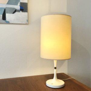 lampe bakelite blanche pieds diabolo anneau laiton abat jour neuf (France) Erco Allemagne 70'