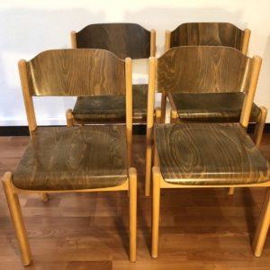 set 4 chaises casala allemagne 70' bois bicolore empilables 44 x 49 h assise 44